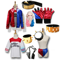 Suicide Squad Harley Quinn Sets Jackets Shirt Shorts Gloves Collar Bracelet  Leather Belt Hairpiece Costumes for Women Cosplay