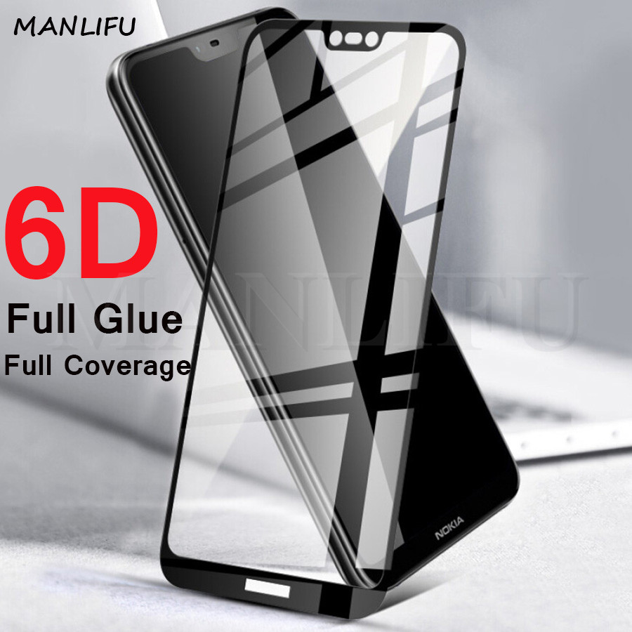 6D Full Glue Full Coverage For Nokia 6.1 7.1 Plus Tempered Glass For Nokia 2 3 5 6 7 8 Protective Film Glass Screen Protector