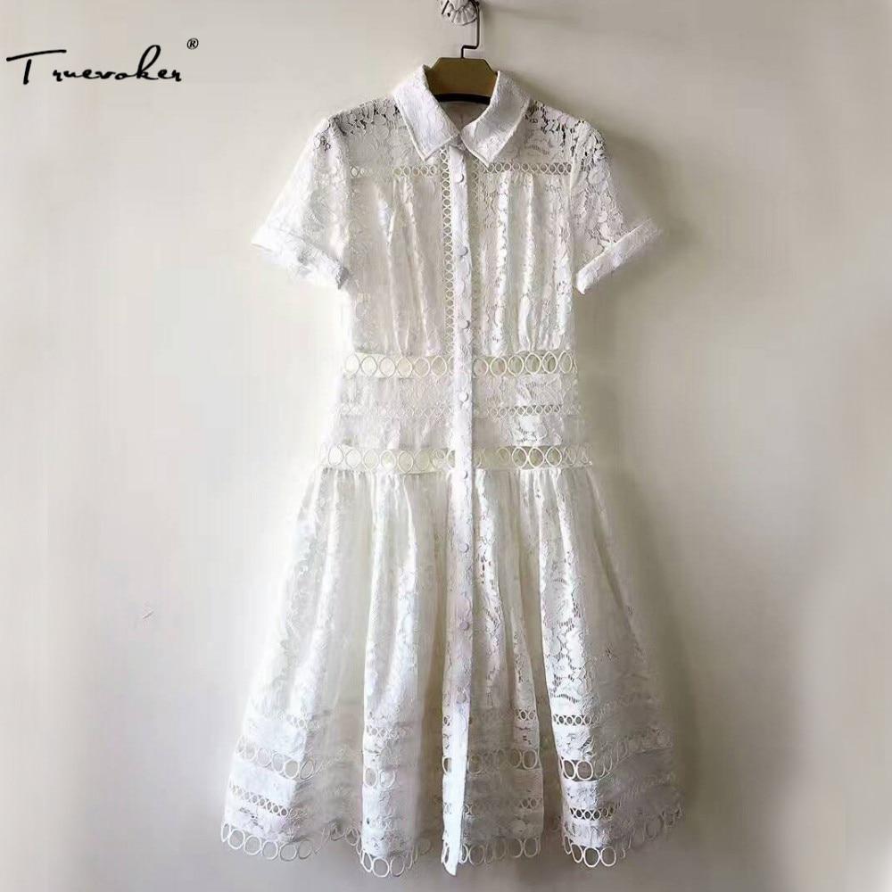 Truevoker Designer Dress Women High Quality Short Sleeve Peter Pan Collar Embroidery Circle Hollow Out Mid Calf Vestidoes ombre circle calf length socks