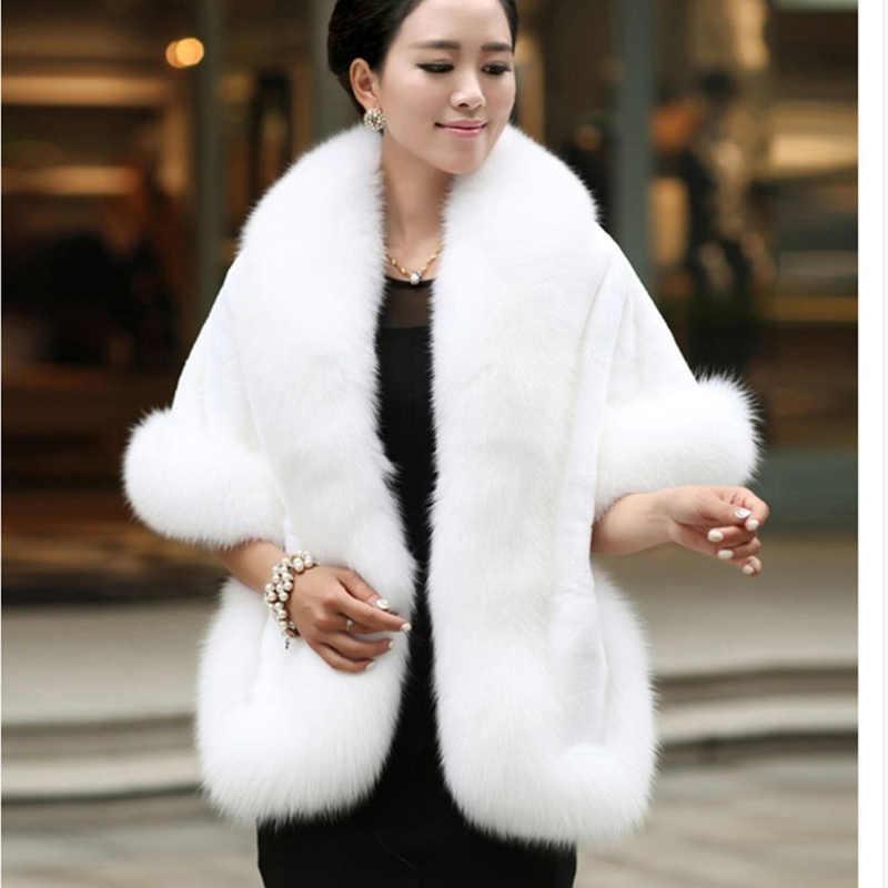 Fox imitación abrigo de piel las mujeres Slim nueva moda de invierno sección corta chal de piel de manga de murciélago abrigos de piel Outwear femenino WYT476