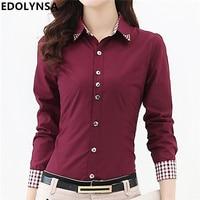 High Quality Women Blouses Casual Plaid Patchwork Blouse Shirt Women Tops Blusas Plus Size S-6XL Long Sleeve Blouse Shirt #B016