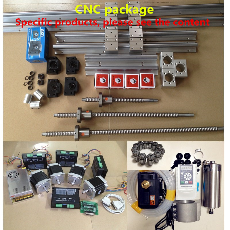 cnc-kits-sbr16-linear-guide-with-rm1605-ballscrew-and-water-cold-spindle-motor-22kw-with-stepper-motor-nema-34-nema23