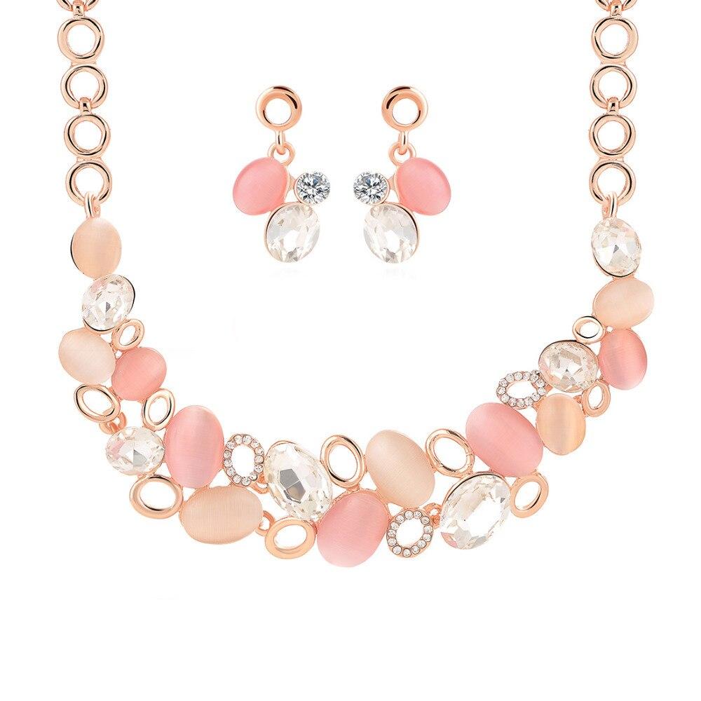 Leegoal Perak Kitty Mode Perhiasan Berlian Imitasi Kristal Diatur 1 Set Batu Colorful Putih Anting Kalung Manik Pesta Pernikahan Jewelry