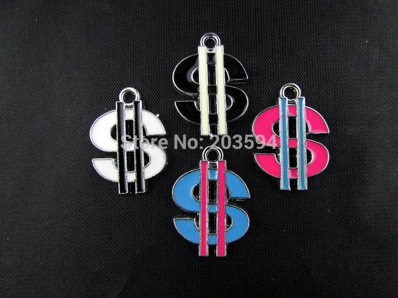 AE257 100Pcs Mix Color Alloy metal Enamel Dollar sign Charms Pendants 26x18mm