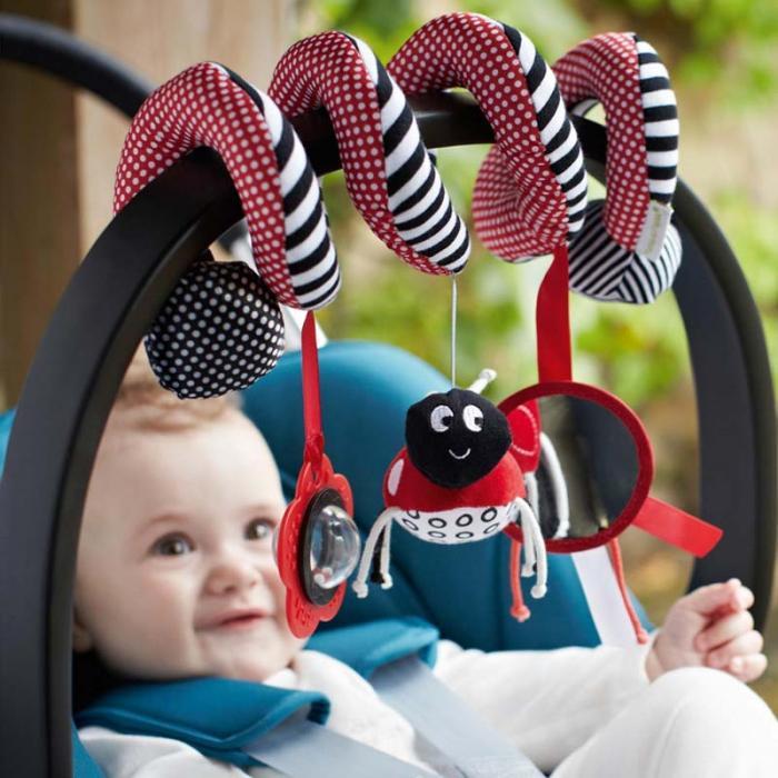 New Funny Toys Hanging Stripe Flower Ladybug Glass Mirror Shape Cute Plush Activity Crib Bell Stroller Baby Soft Toys FL 1
