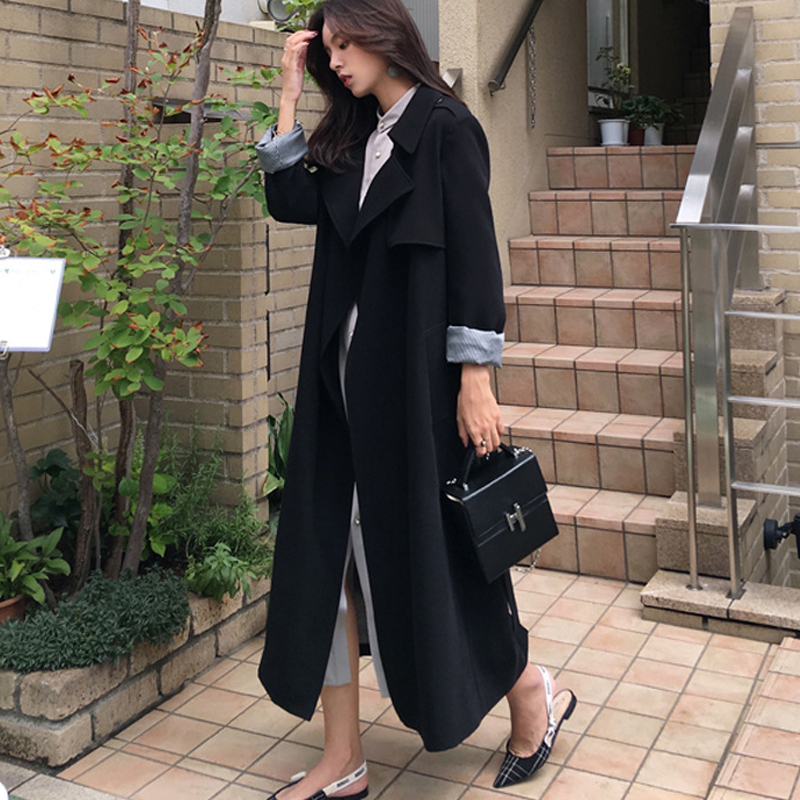 Women Casual Solid Color Double Breasted Outwear Sashes Office Coat Chic Epaulet Design Long   Trench   Loose Large Size Windbreaker