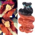 7A Ombre laranja brasileiro onda do corpo virgem cabelo 3 Pcs 100 g sem esmorecer vermelha brasileira dois tons 1B 350 brasileiro feixes de cabelo cor