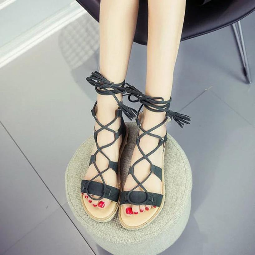 50eb265f0f37 Detail Feedback Questions about SAGACE Shoes Sandals Women Fashion Solid  Color Cross Tied Round Toe Flat Shoes Rome Shoes sandals summer 2018JUL1 on  ...