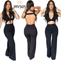 M-XXL Preto backless rompers womens Jumpsuit plus size Sem Mangas sexy bodysuit calças compridas macacões escavar playsuit