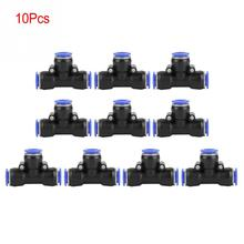 10Pcs OD 12mm Air Hose Pneumatic 3 Way Tee Union Connector Air Push Quick Fittings Wholesale цена 2017