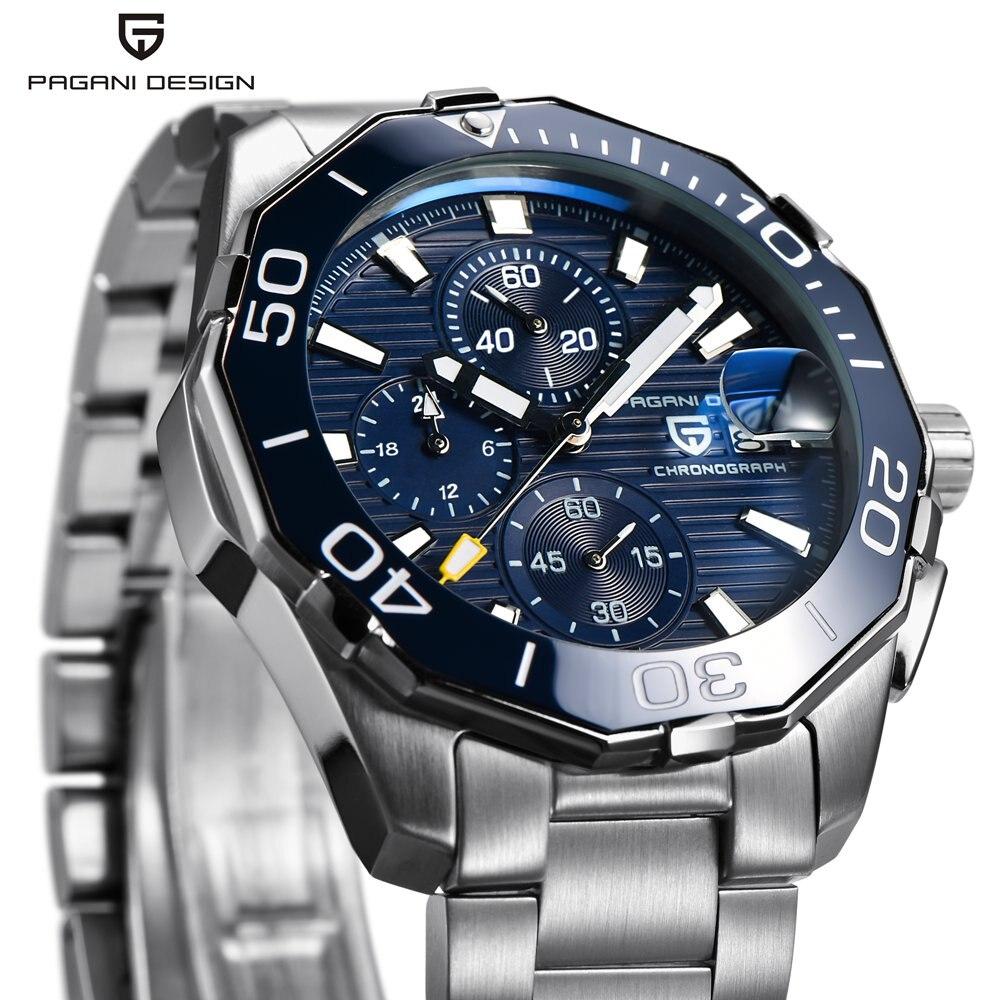 PAGANI CONCEPTION Hommes Montre De Luxe Marque Étanche Sport Quartz Chronographe En Acier D'affaires Montre Homme Horloge relogio masculino Saat