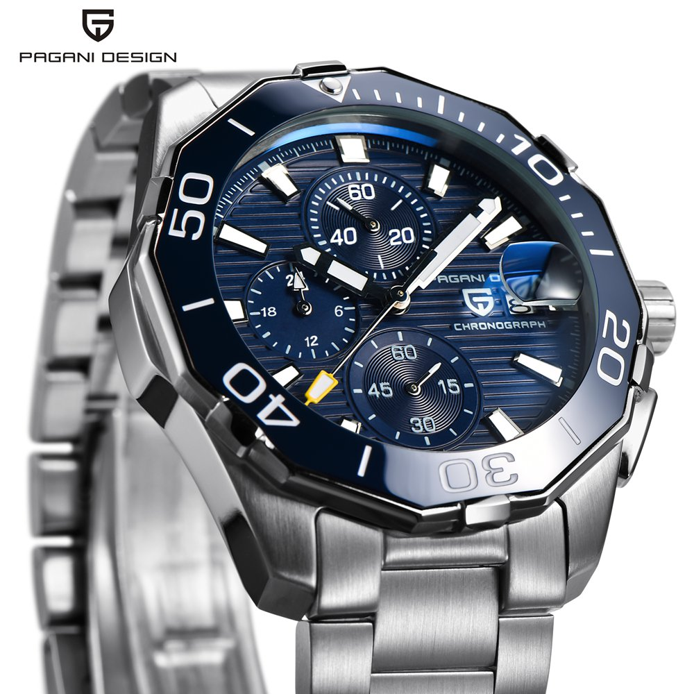 PAGANI DESIGN Men Watch Luxury Brand Waterproof Sport Quartz Chronograph Steel B