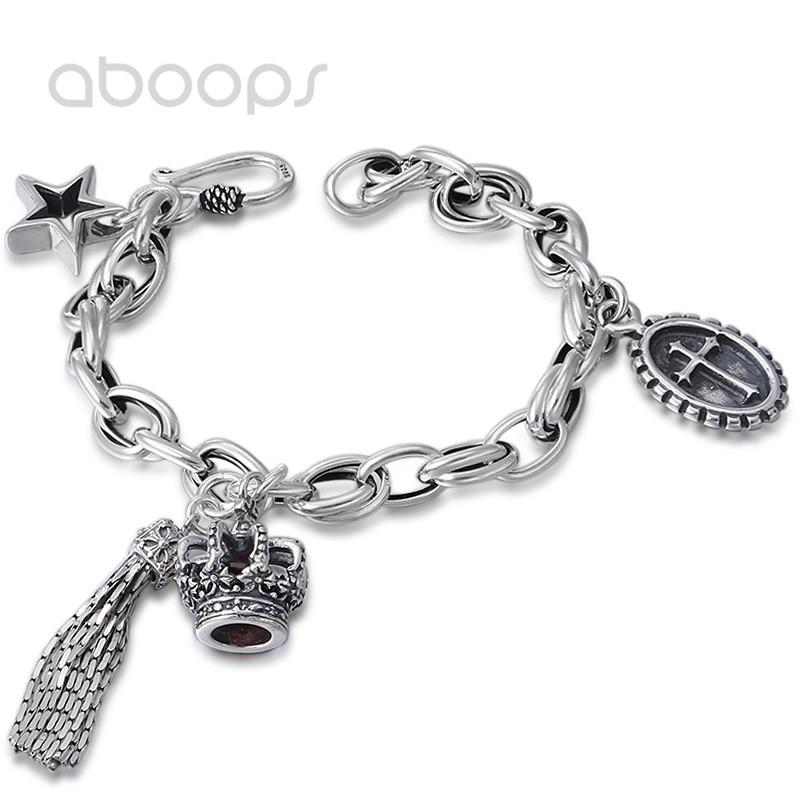 купить Vintage 925 Sterling Silver Link Chain Bracelet with Tassel Crown Star Cross Charms for Women Girls 19cm Free Shipping по цене 3733.06 рублей