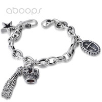 Vintage 925 Sterling Silver Link Chain Bracelet with Tassel Crown Star Cross Charms for Women Girls 19cm Free Shipping