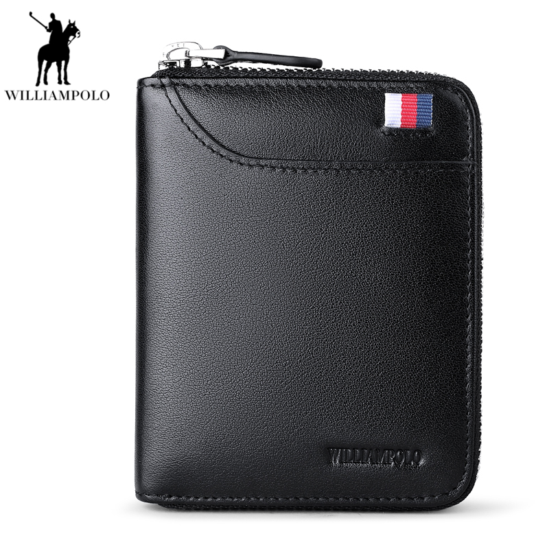 New 100% Genuine Leather Men Wallets Man Famous Small Short portomonee with Coin Zipper Mini Male Purses Card Holder Walet PL190 baellerry top pu leather men wallets and purses coin purse man famous small short portomonee mini male purses card holder walet