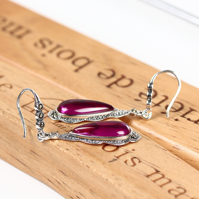 Vintage 925 Silver Earrings for Women Long Ruby 925 Sterling Silver Earrings Tibetan S925 Silver Earrings Wedding Fine Jewelry
