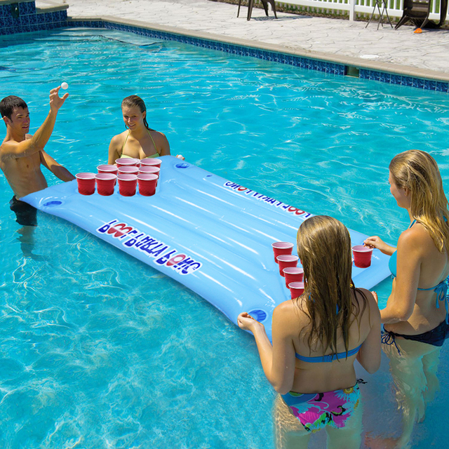 2018 New Hot Summer Water Party Fun Air Mattress Ice Bucket Cooler 145cm 24 Cup Holder PVC Inflatable Beer Pong Table Pool Float 2