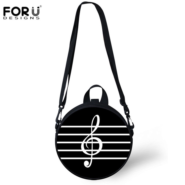 FORUDESIGNS Round Bag Women Crossbody Coin Purse Music Notes Printing  Messenger Bags Girls Boys Circle Handbags ed86dcaad2804