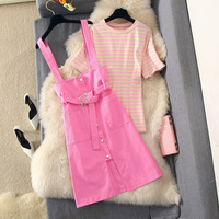 Fashion Summer Dress Two piece Set Womens Outfits Striped Short Sleeve T shirt +denim Straps Pink Dress Ladies Sexy Dresses Suit