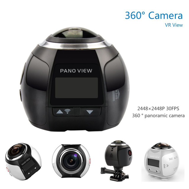 Professional Wifi Action Camerar Portable Camcorder 360 Camera 1000mAh 1080P Car Camera 2448*2448 Ultra HD Panorama Camera