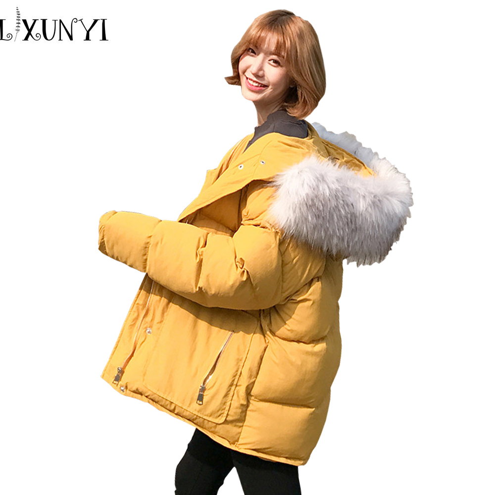 Winter Large Fur Hooded Cotton Jacket 2017 Korean Solid Loose Thick Warm Coat Pocket Zipper Cotton Parkas Bat Sleeve Clothing large size winter jacket hooded coat women clothing korean loose thick lamb wool coat solid casual warm cotton female coats 4xl