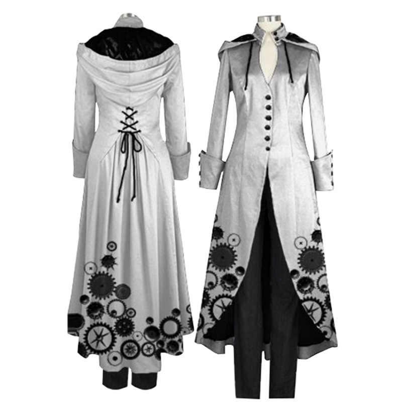 2018 女性のファッション冬黒のレトロなプリントロングパーカーコートファッションゴシック中世コスプレカスタムパーティーオーバーコート生き抜くフード
