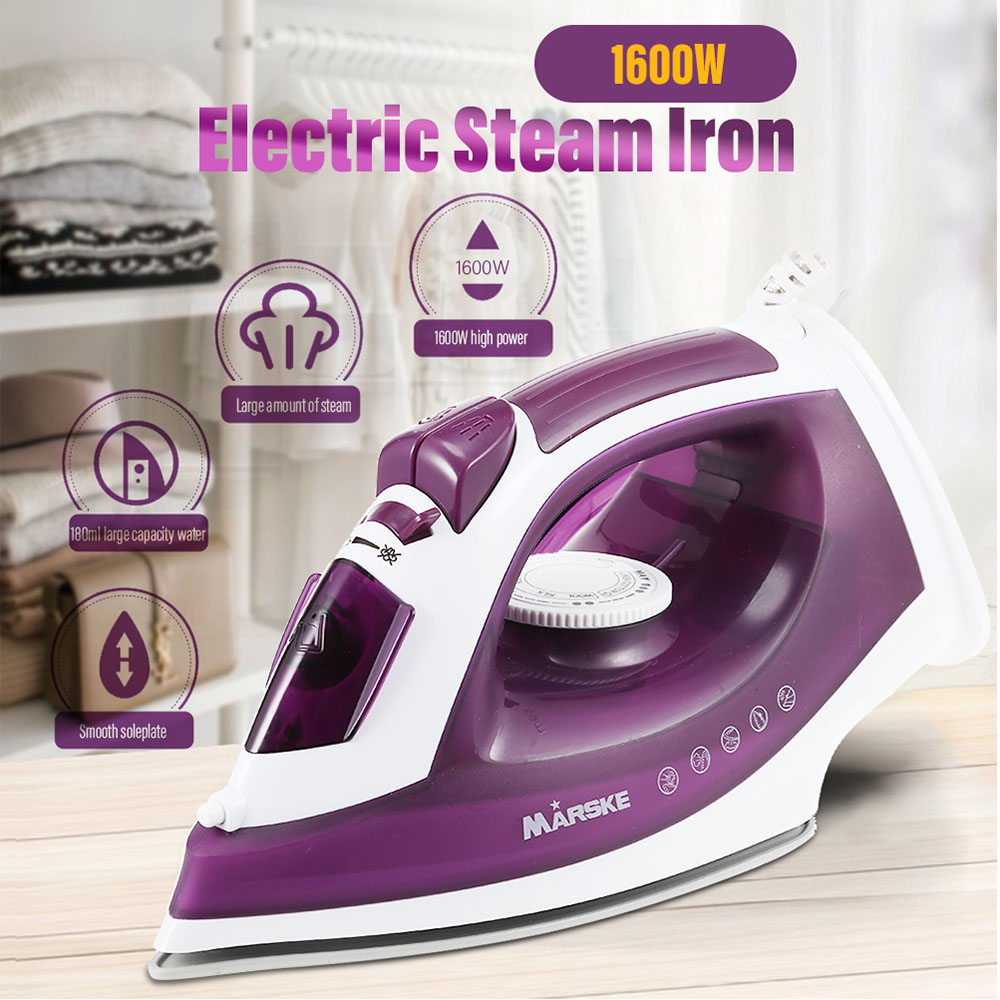 MARSKE 1600W Powerful Electric Garment Steamer Steam Iron For Clothes Nonstick Soleplate 5 Level Adjustable Temperature Wet Dry clothes iron