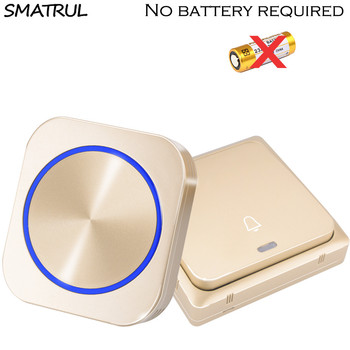 SMATRUL UE UK US enchufe autoalimentado inalámbrico timbre de puerta timbre de luz de noche sin batería panel grande 1 botón 1 2 receptor