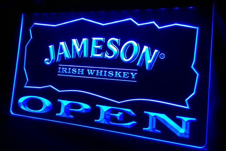 LS458 b Jameson Irish Whiskey OPEN Bar 3D LED Neon Light