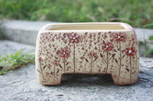 Korean Style Ceramic Hand Painted Rectangular Desktop Flower Pot Home Garden Decoration Tabletop Tub Planter