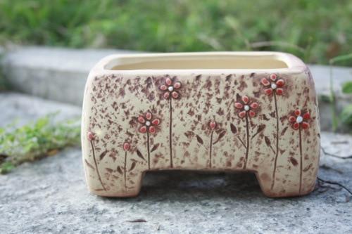Korean Style Ceramic Hand Painted Rectangular Desktop Flower Pot