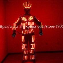EL провода свет одежда Красочные LED Световой Робот RGB яркая одежда для выступления Одежда для танцев праздничное платье одежда