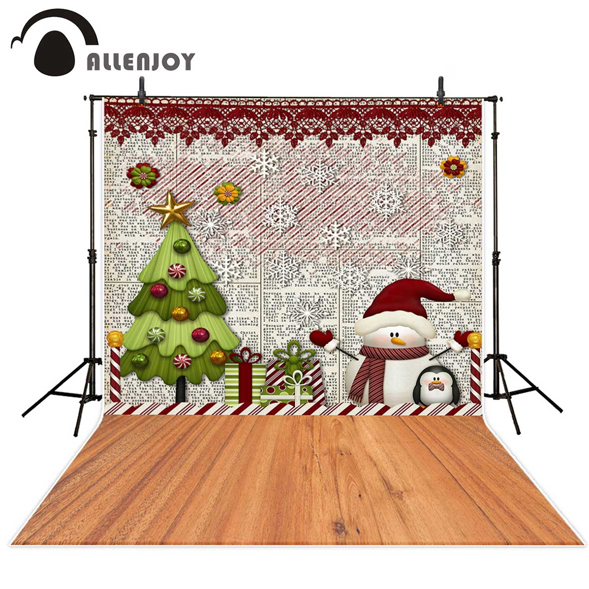 Allenjoy photography background Christmas tree snowman gifts snowflake wood floor backdrop Photo studio camera fotografica