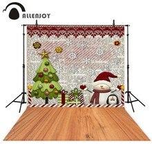 Allenjoy photography background Christmas tree snowman gifts snowflake wood floor backdrop Photo studio camera fotografica