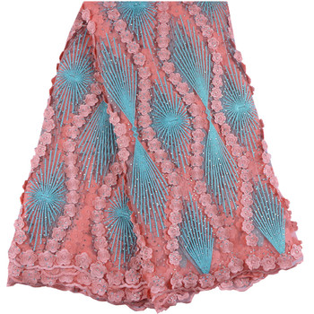 Embroidered Nigerian Tulle Lace With Stones High Class African French Net Lace Fabric For Wedding Dresses A999