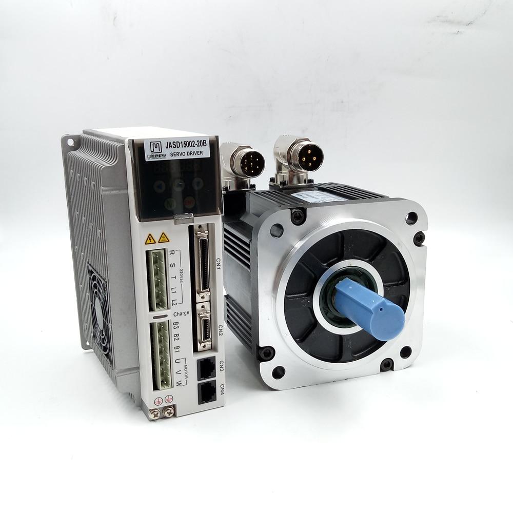 NEMA52 130mm Industrial Servo Motor+Drive Kit 1.5KW AC Servo Motor Set 1500w 5NM 2000rpm AC220V JASD15002-20B+130JASM515220K-M23 new original motor mr je 70a hf sn52j s100 2 9a 500w 2 39nm 2000rpm ac drive kit with cable