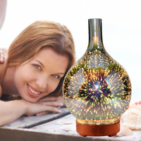 200ml Creative 3D Led Night Light Glass Wood Grain Vase Shape Ultrasonic Essential Oil Diffuser