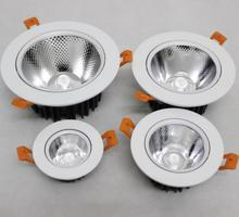 Free Shipping High power Recessed Dimmable 9W/12W/15W/25W LED Downlight COB Down light White Shell+LED Driver