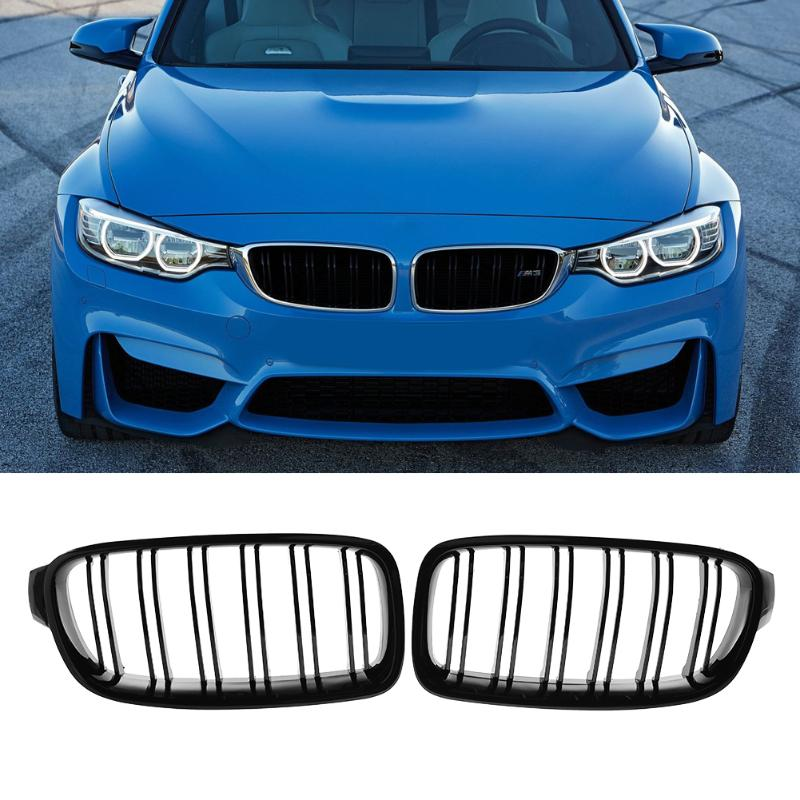 VODOOL 1 Pair Car Decorative Accessory Front Kidney Grille for BMW F30 F35 12-15 Car Racing Grille Black High Quality car front bumper mesh grille around trim racing grills 2013 2016 for ford ecosport quality stainless steel