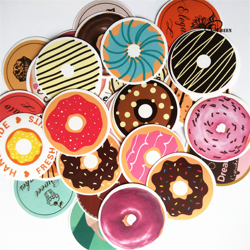 35 unids Donuts sellado pegatina regalo publicado hornear decoración etiqueta impermeable Doodle café panadería casa novela única DIY calcomanías