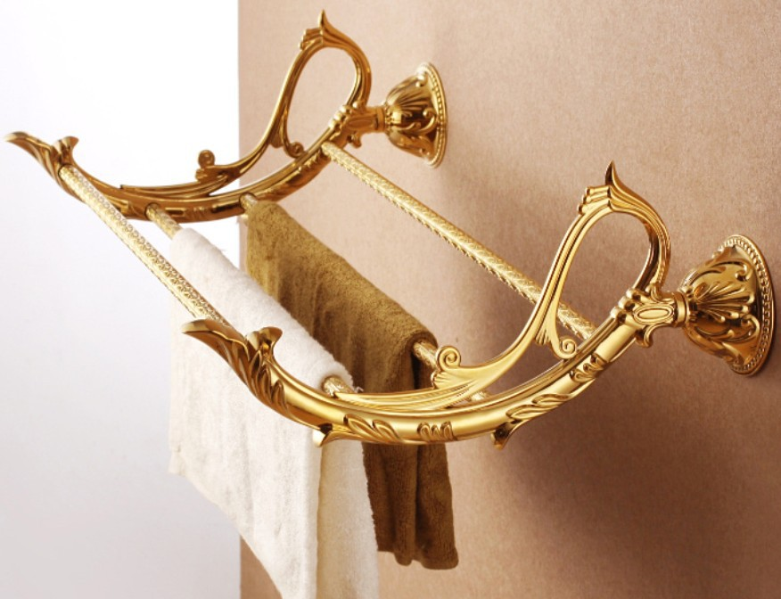 Free shipping Bathroom towel holder,gold Towel rack/towel holder/towel shelf,golden color GB008b free shipping brass & stone golden towel rack gold towel bar towel holder cy008s