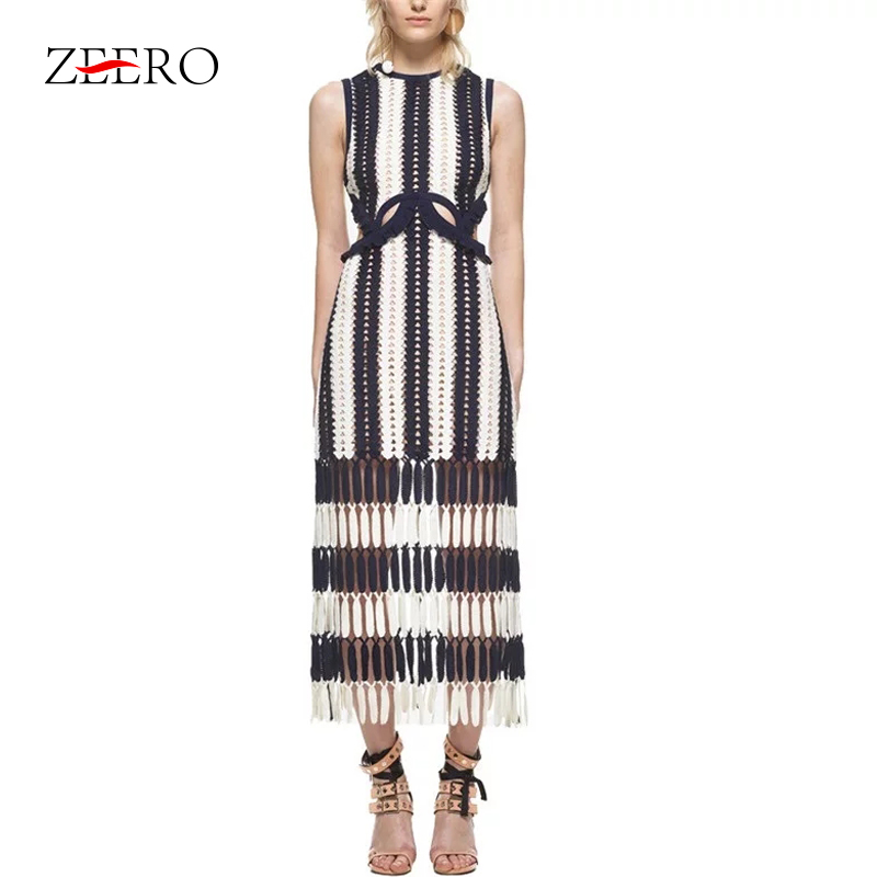 ZEERO Runway Dress Self Portrait Sleeveless Lace Hollow out White Blue Patchwork Tassel Women Long Dress