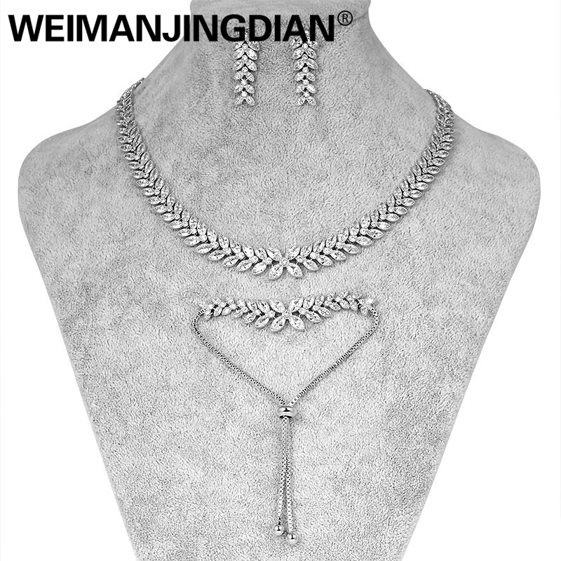 WEIMANJINGDIAN Set of 3 Necklace Bracelet and Earrings Flower Cubic Zirconia Wedding Bridal Jewelry Set in Gold or Silver ColorsWEIMANJINGDIAN Set of 3 Necklace Bracelet and Earrings Flower Cubic Zirconia Wedding Bridal Jewelry Set in Gold or Silver Colors