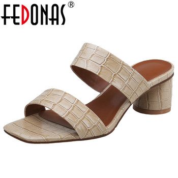 FEDONAS Summer New Brand Design Square Toe Round Heels Rome Women Sandals Animal Prints Genuine Leather Party Casual Shoes Woman