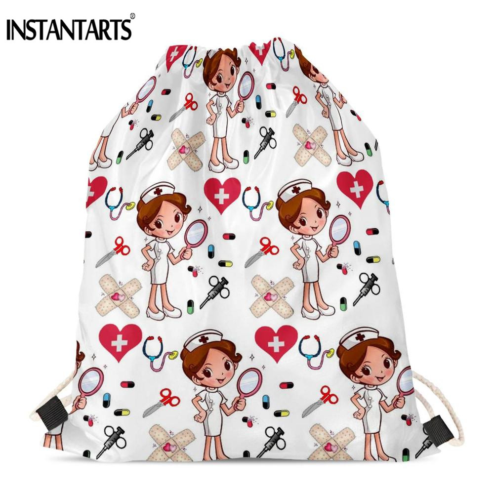 INSTANTARTS Newest Drawstrings Bag Cartoon Nurse Girls Printing Casual Women Fitness Shoulder Backpack Light Shopping Bags Soft