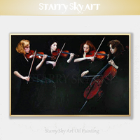 Top Artist Pure Hand painted High Quality Realist Musician Oil Painting on Canvas Musician Playing Violin and Cello Oil Painting