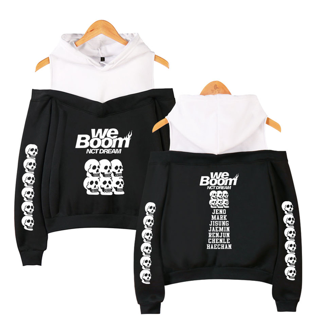 NCT Dream WE BOOM Printed Off-Shoulder Casual Hoodie