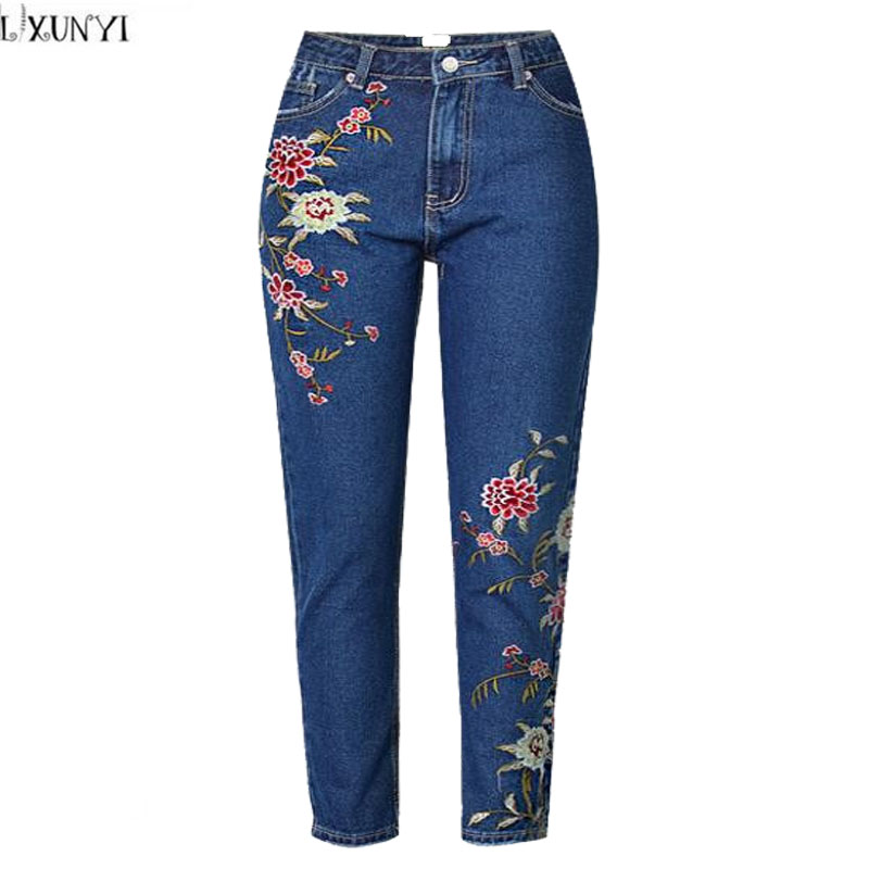 LXUNYI Fashion 3D Flower Embroidered jeans Women Ankle Length Pants Vintage High Waist Slim Skinny Pencil jeans Woman Plus Size spring new women jeans high waist ankle length slim pencil pants fashion female jeans 3 color plus size jeans femme 2017