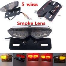 Triclicks Fumo Moto Fendinebbia Fanale Posteriore Freno Stop Girare Singolo Luci Posteriori A Due Colori Indicatore LED Luce Targa