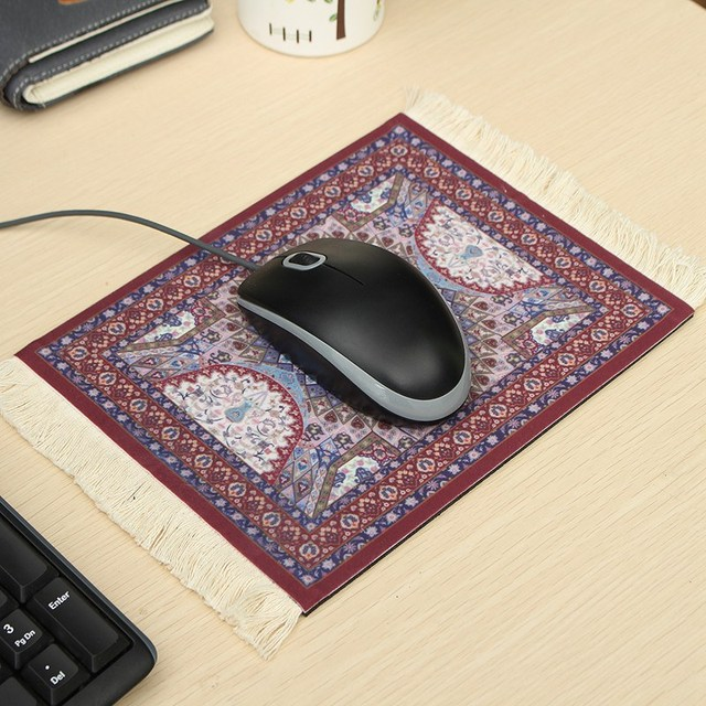 Leory 18x28cm Vintage Carpet Rubber Gaming Mouse Gamer Mat Woven